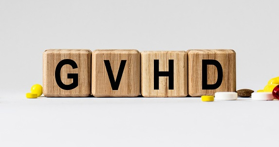 cubes with the word GVHD on them. Care concept.